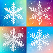 Shiny sparkling snowflake set on bright christmas background. Shimmering holiday cards collection. Vector illustration.