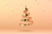 Abstract glossy spiral Christmas tree and confetti. Golden coil metallic ribbon.  New year and xmas decoration concept. 3d minimal pastel colored background