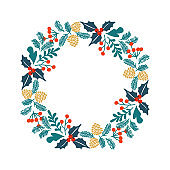Christmas greeting card with wreath.
