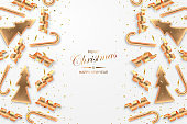 Christmas festive background with golden metallic xmas decorative elements and confetty. Shining serpentine, fir tree and candy realistic 3d decorations. Isolated on white