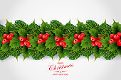 Holiday's background with border of realistic  Christmas tree branches, red ilex (holly) berries and leaves with season wishes. Green fir tree wreath
