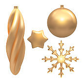 Vector illustration of Christmas  golden 3d realistic christmas ball, star, snowflake decorations isolated on white. New year and xmas holiday winter concept