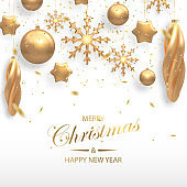 Vector illustration of Christmas background with golden 3d realistic christmas ball, star, snowflake decorations and confetty isolated on white. New year and xmas holiday winter concept