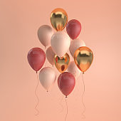 Illustration of glossy red, beige and gold balloons on pastel colored background. Empty space for birthday, party, promotion social media banners, posters. 3d render realistic balloons
