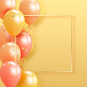 Set of realistic pearl glossy helium balloons floating on yellow background and golden confetty. Vector 3D balloons for birthday, party, wedding or promotion banners or posters. Vivid illustration in pastel colors.