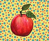 Hand drawn watercolor apple fruit