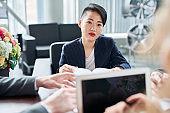Woman at meeting