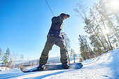 Action Shot of Snowboarder