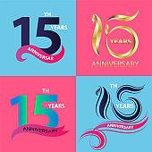 set 15th anniversary sign and logo celebration symbol