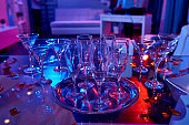 Crystal glasses on table for party