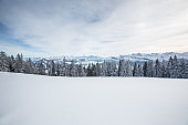 Splendid winter alpine scenery with high mountains
