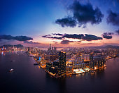 Cityscape of Hong Kong, China in magic hour