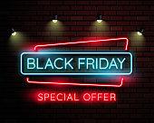 Black friday neon light banner.used for shop, online shop, promotion and advertising. vector illustration.