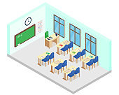 Vector illustration of isometric school class room. Includes table, chairs, books, blackboard in cartoon flat style.
