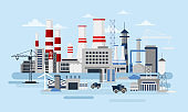 Vector illustration of big manufacturer with a lot of buildings and cars. Ecology Concept, factory pollution, industry in flat style.