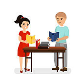 Vector illustration of young man and woman with books on table, girl and boy are reading books, flat cartoon style image.