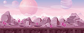 Vector illustration of beautiful alien landscape in pink colors with crystals and mountains. Other planet fantasy landscape, sci-fi background for UI Game.