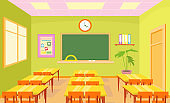Vector illustration of empty school class room interior in bright pastel colors with board and desks for children in cartoon flat style.