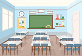 Vector illustration of classroom in school. Empty Interior of class with board and desks for children in flat cartoon style.