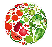 Vector illustration of circle shape of green and red fruits and vegetables. Healthy nutrition organic concept flat style.