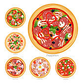 Vector illustration set of pizza with different ingredients. Delicious vegetarian pizza and pizza with meat and mushrooms collection on white background,healthy food concept.