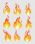 Vector illustration set of fire flames icons different shapes on the transparent background in flat cartoon style.
