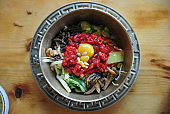 Beef Tartare and Chestnut Bibimbap