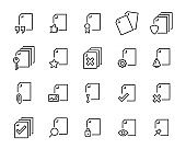 set of document icons, such as files, checkmark, find, search, paper