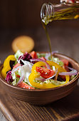 Fresh salad with sweet pepper, tomatoes and onion.