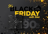 Black Friday Sale Vector Background. Business Promotion Banner with Special Offer Tag. Discount Label. Christmas Shopping Season. Black Friday Deal. Weekend Sale. Promo Teaser. Elegant Gift Voucher.