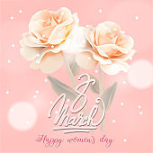 March 8 Happy womans day calligraphy lettering greeting card. Vector illustration