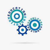Connected cogwheels. Education, knowledge training, learning, study words. Integrated gears, text. Elearning course, graduation concept.