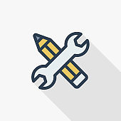 Wrench and pen, installation, design thin line flat color icon. Linear vector symbol. Colorful long shadow design.