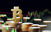 Bitcoin Symbol With Financial Graphic Elements Over Dark Background