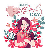 Happy Mothers day greeting card with typographic design and floral elements. Vector illustration.