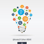 Brainstorm integrated thin line icons in idea light bulb shape. Digital neural network interact concept. Idea, solution in light bulb shape.