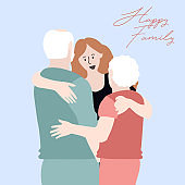 Beautiful adult daughter and her senior parents are hugging, vector illustration.