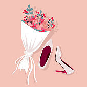 Brides wedding shoes with a bouquet, vector illustration.