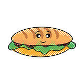 kawaii sandwich vector illustration