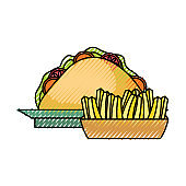 sandwich  and  french fries   vector illustra