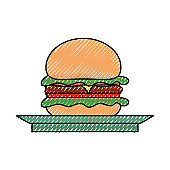 burguer  on plate  vector illustrati