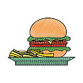 burguer  and french fries  vector illustrati
