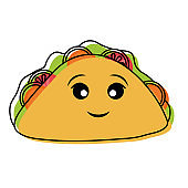 kawaii sandwich  vector illustratio