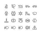 Line Car Dashboard Icons