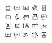 Line Video Content Icons