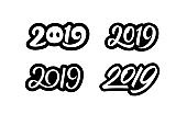 Happy New Year 2019. Set of calligraphy numbers for Chinese Year of the Pig. Text sticker or banner design collection isolated on white background. Vector illustration.