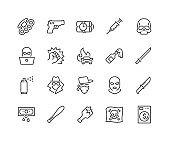 Line Crime Icons