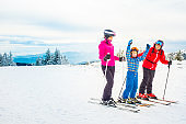 Happy family on a ski trip