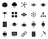 Blockchain, Cryptocurrency Icons Set. Vector Simple Minimal 96x96 Pictograms