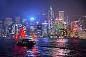Hong Kong skyline at night, Victoria harbor.